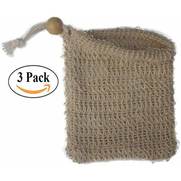 Natural Exfoliating Sisal Soap Saver Bag Pouch Holder for Shower Bath, Pack of 3