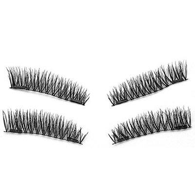 SODIAL 1 pair / 4pcs Natural Double magnetic 3D Long Magnetic Fal Eyelashes Soft Eye Makeup Eye Lash Extension Make Up Tools KS01-S