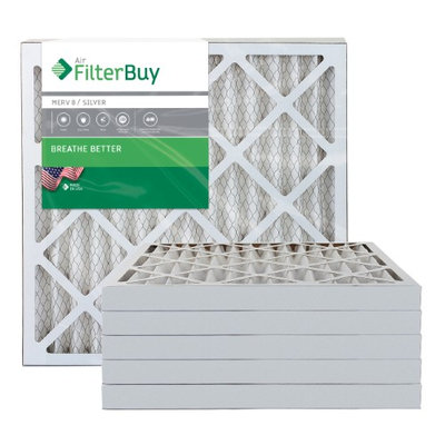 AFB Silver MERV 8 25x25x2 Pleated AC Furnace Air Filter. Filters. 100% produced in the USA. (Pack of 6)
