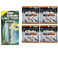 Vector Plus Razor Handle + Atra Plus Refill Razor Blades 10 ct. (Pack of 4) + FREE Assorted Purse Kit/Cosmetic Bag Bonus Gift