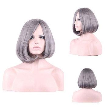 YaRui Granny Grey Bob Wigs Short Straight Middle Part Heat Resistant Wigs for Women+ Free Wig Cap 14