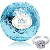 Bath Bomb with Ring Surprise Inside Ocean Breeze Extra Large 10 oz. Made in USA