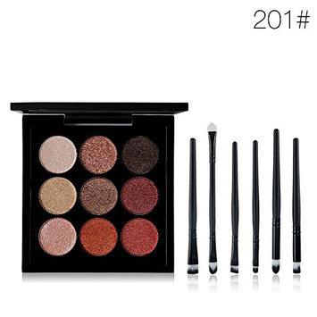 Tanali 9 Matte Colors Eyeshadow Palette +6pcs Eye Shadow Makeup Brushes-Velvet Shimmer Pigment Pallet Set