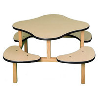 Wild Zoo Furniture Childs Play Table for 1-4 Kids, Ages 2 to 5, Maple/Black