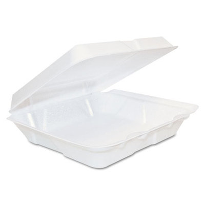 Dart Foam Hinged Lid Containers, 8 x 8 x 2 1/4, White, 200/Carton (DCC80HT1R)