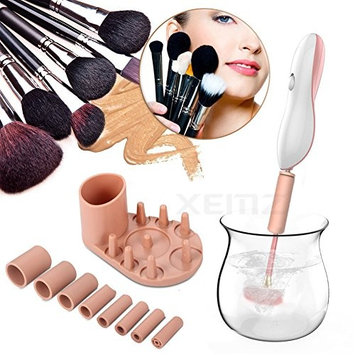 Electric Auto Makeup Brush Cleaner Dryer – Energy Saving, Quieter, Shock Free - Washing Cosmetic Brush Spinner, Rotating Cleaning Brush Tool with 8 Rubber Collars - Clean Dry in 10-30 Seconds (pink)