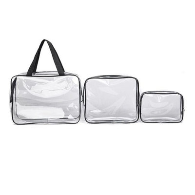 Hunputa 3 in 1 Makeup Bags & Cases Plastic Travel Tolietry Bag Clear PVC Tolietry Travel Bag Brushes Organizer for Men and Women Travel Business Bathroom