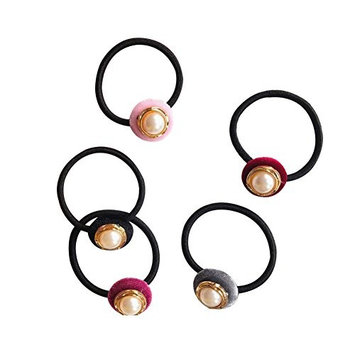 LAMEIDA 5 Pcs Elegant Ponytail Holders Elastic and Stretchy Hair Ties Thick Hair Rope Band with Velvet Pearl Decoration
