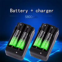 4PCS 5800mah 18650 Battery 3.7V Rechargeable Li-Ion & 2PCS Dual Smart Charger