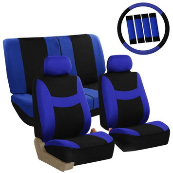 Fh Group Car Seat Covers Blue Full Set for Auto w/Steering Wheel/Belt Pad/2Head Rest