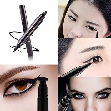Eyeliner Stamp-by Lunir Black, waterproof, smudgeproof, winged long lasting liquid eye liner pen, Vamp style wing, Double Head Eyeliner Pencil Makeup Tools, No Dipping required. 2 Pens