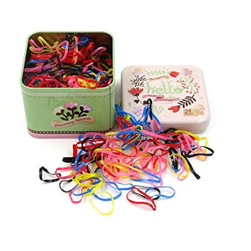 J-Beauty Kids Girl Colorful Hair Rubber Bands Elastic Hair Ties 1000 Pcs Thick Design Hard to Cut