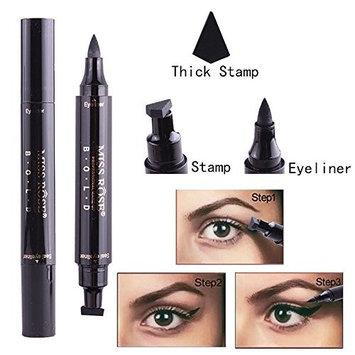 Liquid Eyeliner Stamp, Oil-proof Long Lasting Winged Waterproof Black Smudgeproof Double Head 2 Makeup Pens (10mm)
