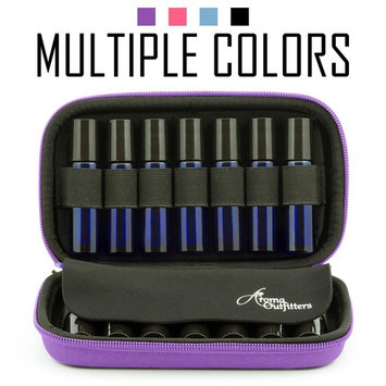 Essential Oil Carrying Case - Travel Cases for Roller Bottles. Best for Protecting Rollers and Organizing Your Oils on the Go. Carry up to 14 Rollons. Includes Bonus Sample Drams Holder (Purple).