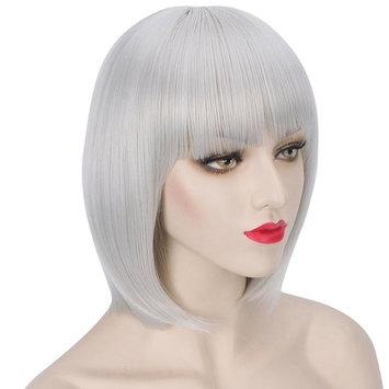 WELLKAGE 14 inches Halloween Party Short Straight Black Bob Hair Wigs