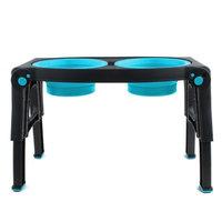 Dexas Double Bowl Adjustable Height Pet Feeder - Blue (32 oz)