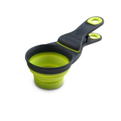 Dexas Collapsible Klipscoop 3 Tools-In-One Scoop, Measuring Cup, And Bag Clip - Green (4 oz)