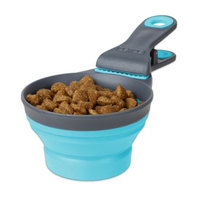 Dexas Collapsible Klipscoop 3 Tools-In-One Scoop, Measuring Cup, And Bag Clip - Blue (16 oz)