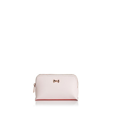 Ted Baker Lilliya Bow leather small wash bag, Light Pink
