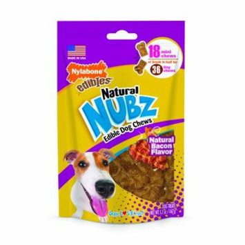 Nylabone Natural Nubz Dog Chew Treats Bacon Flavored, Mini, 18 Count