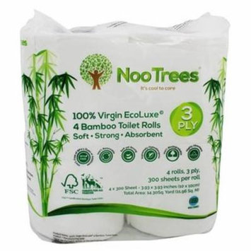 Nootrees 280764 Virgin Ecoluxe Bamboo 3-Ply Toilet Tissue, 4 Rolls per Pack - 300 Sheet per Pack - Pack of 12