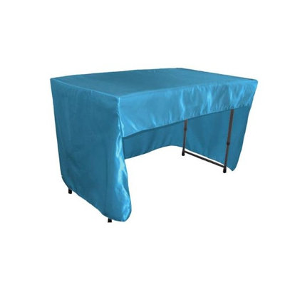 LA Linen TCbridal-OB-fit-48x24x30-TurquoiseB52 Open Back Fitted Bridal Satin Classroom Tablecloth Turquoise - 48 x 24 x 30 in.