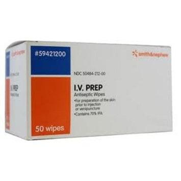 IV PREP Alcohol Prep Pad 70% Isopropyl Alcohol, Individual Packets, Sterile, Box of 50