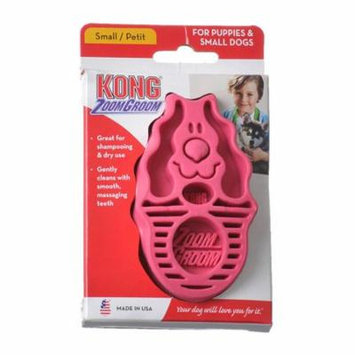 Kong ZoomGroom Dog Brush - Raspberry Small (For Puppies & Small Dogs) - Pack of 6