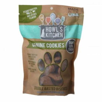 Howl's Kitchen Canine Cookies Double Basted Biscuits - Peanut Butter & Molasses Flavor 10 oz - Pack of 3