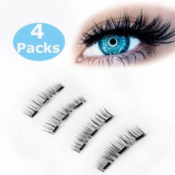 Magnetic eyelashes, New Black Dual Magnetic False Eyelashes Cover the Entire Eyelids - 4pcs Ultra Thin 3D Fiber Reusable Best Fake Lashes Extension for Natural, Perfect for Deep Set Eyes & Round Eyes