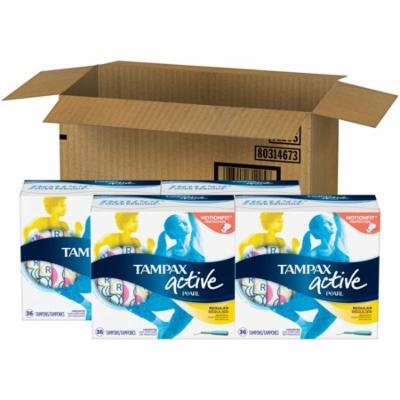 Tampax Active Pearl Plastic Tampons, Regular Absorbency, Unscented, 144 Count