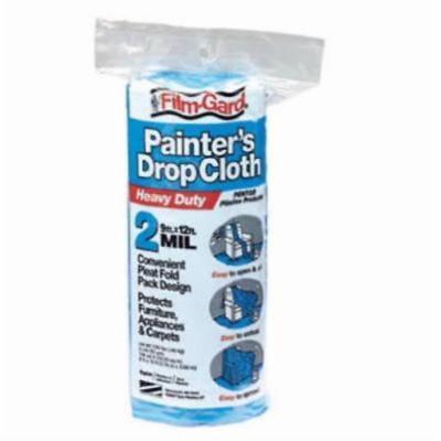 9' x 12' Blue 2 Mil Heavy Duty Plastic Drop Cloth Easy To Use Roll 5PK