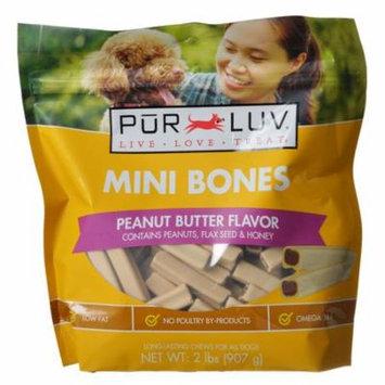 Pur Luv Mini Bones Peanut Butter Flavor Dog Treats 60 Pack - Pack of 3