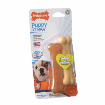 Nylabone Puppy Chew Petite Twin Pack - Chicken & Peanut Butter Nylon Chews 3.75 Chews - 2 Pack - (For Puppies up to 15 lbs) - Pack of 6