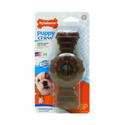 Nylabone Puppy Chew Textured Ring & Bone - Chicken Flavor Wolf (1 Pack) - Pack of 12