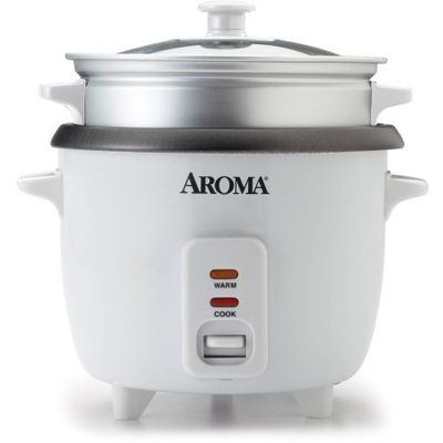 Mirama Enterprises, Inc. Aroma 6-Cup Rice Cooker And Food Steamer, White