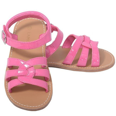 L'Amour Patent Fucshia Woven Strap Summer Sandals Toddler Girls 5-10