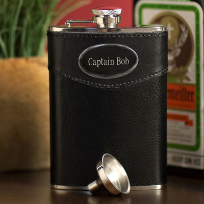 Personalized 8 oz. Leather Wrapped Flask