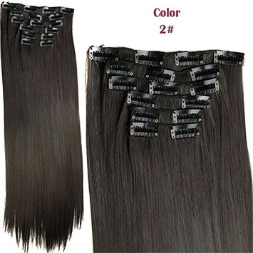 Fashion Women 24 Inches Straight Full Head 6 Separate Pieces Heat Resistance Synthetic Hair Clip in Hair Extensions 140g
