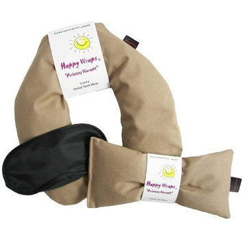Happy Wraps Unscented Flax Seed Neck Wrap with Unscented Flax Seed Eye Pillow and Sleep Mask - Microwave or Freeze - Tan Cotton