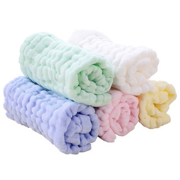 Chanie Pack of 5 Baby Muslin Washcloths, Reusable Wipes, Muslin Baby Bath Towels, Natural Organic Cotton Baby Wipes Soft Newborn Baby Face Towel, 10