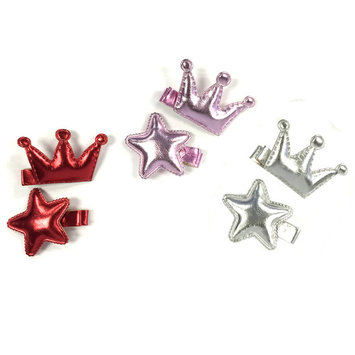 Wrapables® Baby Toddler Stars and Crowns Alligator Hair Clips (Set of 6), Red/Silver/Lavender