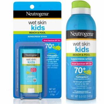 2 Pack - Neutrogena Wet Skin Kids Stick Sunscreen Broad Spectrum SPF 70 0.47 oz & Neutrogena Wet Skin Kids Sunscreen Spr
