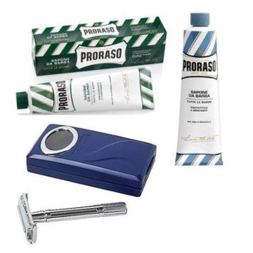 Proraso Shaving Cream, Menthol & Eucoplytus 150 ml + Proraso Shaving Cream, Aloe & Vitamin E 150 ml + Shaving Factory Double Edge Safety Razor, Silver + Schick Slim Twin ST for Dry Skin