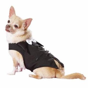 HP505 Pinstripe Doggie Tuxedo Vest Harness Fully Lined, Black & White - Large