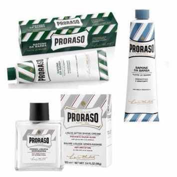 Proraso Shaving Cream, Menthol & Eucoplytus 150 ml + Proraso Shaving Cream, Aloe & Vitamin E 150 ml + Proraso Liquid After Shave Cream, 3.4 Ounce + Old Spice Deadlock Spiking Glue, Travel Size, .84 Oz