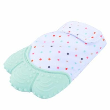 Pretty See Sounding Baby Teething Mitten Hygienic Baby Soothing Mitt Practical Silicone Teether Mitten for Self-soothing Pain Relief, Mint Green