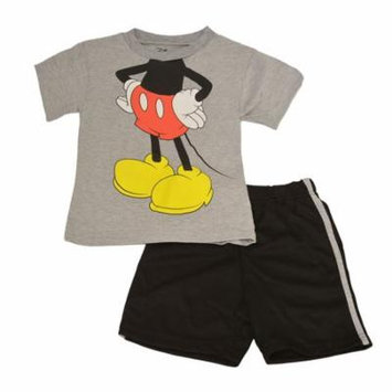Disney Little Boys Gray Mickey Mouse Cartoon Play Role 2 Pc Shorts Set
