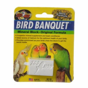 Zoo Med Bird Banquet Mineral Block - Original Seed Formula Small - 1 Block - 1 oz - Pack of 2