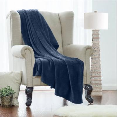 King Fleece Super Soft Warm Fuzzy Plush Couch Blanket, Extra Soft Brush Fabric, Lightweight Super Warm Bed Blanket (102-Inch-By-90-Inch) Navy, By Clara Clark